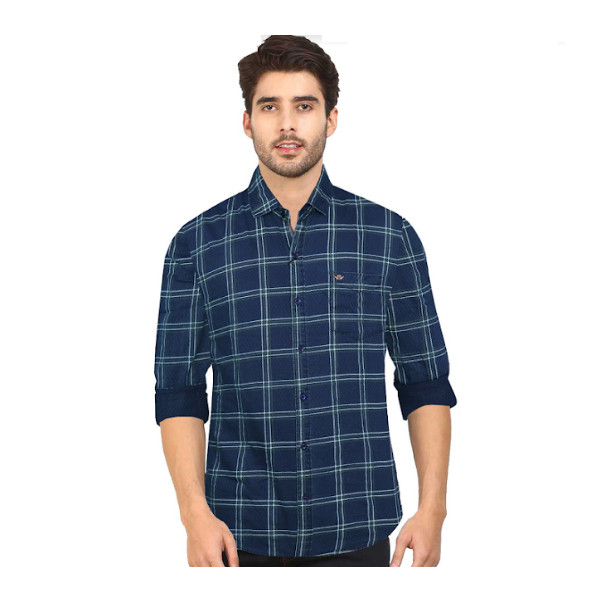 Duff (1672) Men 100% Cotton Casual Shirt Striped ( Navy Blue)